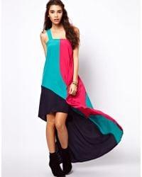 ASOS Collection  Maxi Dress in Colourblock multicolor - Lyst