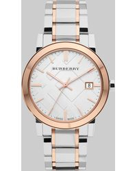 Burberry Two-Tone Stainless Steel Check Watch - Lyst
