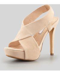Diane von Furstenberg Zia Ii Crisscross Sandal beige - Lyst
