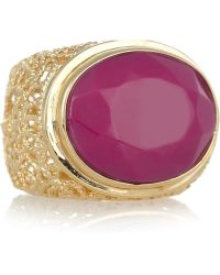 Isharya - Swirl 18-Karat Gold-Plated Glass Ring - Lyst