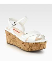 Prada Patent Leather Cork Wedge Sandals - Lyst