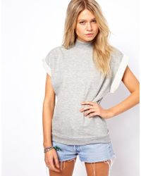 ASOS Collection Asos Sweatshirt with High Neck and Short Sleeves gray - Lyst