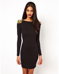 ASOS Collection Bodycon Dress with Studded Shoulder - Lyst