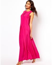 ASOS Collection Maxi Dress with Pleat Front Detail - Lyst