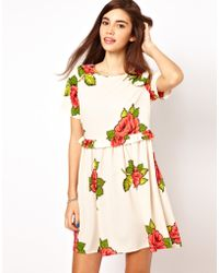 ASOS Collection | Smock Dress in Rose Print | Lyst