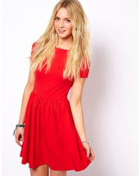ASOS Collection | Skater Dress with Slash Neck and Short Sleeves | Lyst