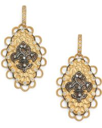 Belargo - Twotone Fleur De Lis Medallion Drop Earrings - Lyst