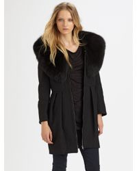 Alice + Olivia Campbell Fox Fur Collar Coat - Lyst