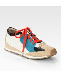 Elizabeth and James | Evva Leather Suede Laceup Sneakers | Lyst