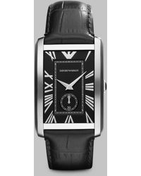 Emporio Armani Stainless Steel Rectangular Watch - Lyst