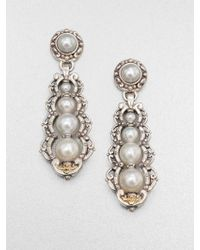 Konstantino - Cultured Pearl Sterling Silver and 18k Yellow Gold Drop Earrings - Lyst