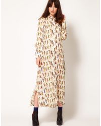 Nahm - Silk Shirt Dress in Egyptian Print with Blouson Detail - Lyst