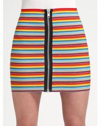 Pleasure Doing Business Rainbowstripe Elastic Mini Skirt - Lyst