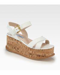 Prada Saffiano Patent Leather Cork Wedge Sandals - Lyst