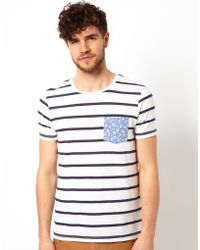 Asos Stripe T-shirt with Flower Printed Pocket - Lyst