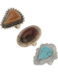 TOPSHOP - Antique Stone Ring Pack - Lyst