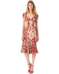 Zac Posen Short Sleeve Print Dress - Lyst