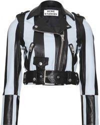 Acne Studios Mape Petite Striped Leather Jacket - Lyst