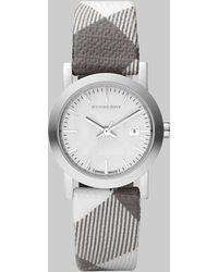 Burberry Stainless Steel Check Strap Watch - Lyst