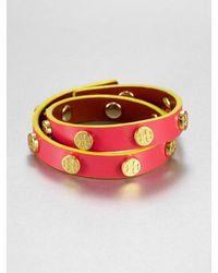Tory Burch Double Wrap Leather Bracelet - Lyst