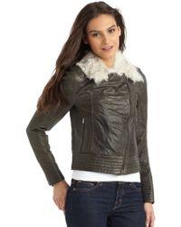 Hanii Y - Furcollar Leather Jacketdark Green - Lyst