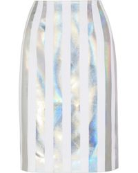 Jonathan Saunders Issy Holographic Striped Crepe Pencil Skirt white - Lyst