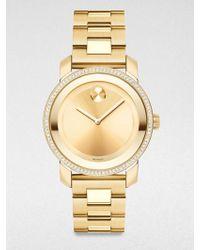 Movado Bold Diamond & Goldtone Ip Stainless Steel Bracelet Watch/36Mm - Lyst