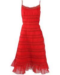 Oscar de la Renta Tea Length Tank Dress - Lyst