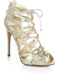 Alexandre Birman Strappy Metallic Leather Laceup Sandals - Lyst