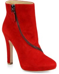 Diane von Furstenberg Cady Suede Zipdetail Ankle Boots - Lyst