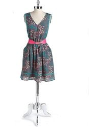 Jessica Simpson Belted Floral Print Dress - Lyst