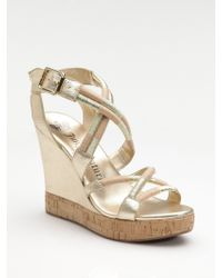 Juicy Couture - Metallic Leather Wedge Sandals - Lyst