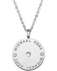 Michael Kors Logo Disc Necklace - Lyst