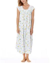Midnight By Carole Hochman - Cherished Rosettes Soft Jersey Long Nightgown - Lyst