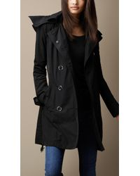 Burberry Hooded Taffeta Trench Coat - Lyst
