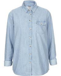 Topshop Denim Oversize Shirt - Lyst