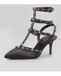Valentino Rockstud Leather Slingback black - Lyst