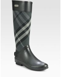 Burberry | Clemence Check Canvas Rain Boots | Lyst