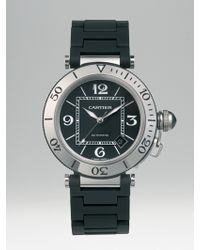 Cartier Pasha Seatimer Stainless Steel Watch On Black Rubber Bracelet - Lyst