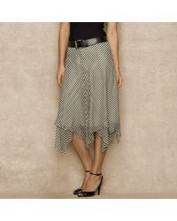 Ralph Lauren Blue Label Striped Silk Chiffon Skirt - Lyst