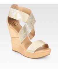 Diane von Furstenberg Opal Metallic Leather Sculpted Wedge Sandals gold - Lyst