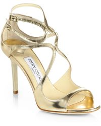 Jimmy Choo Ivette Metallic Leather Sandals silver - Lyst