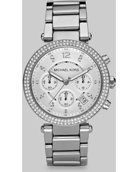 Michael Kors Crystal Chronograph Bracelet Watch/Silver - Lyst