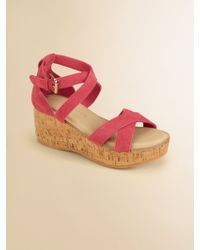 Ralph Lauren Girls Fiona Suede Wedge Sandals - Lyst