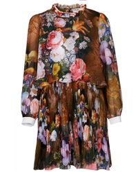 Topshop Pleated Floral Dress By Cici multicolor - Lyst
