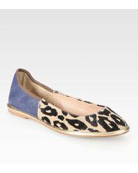 Diane von Furstenberg Botswana Leather and Leopardprint Calf Hair Ballet Flats - Lyst