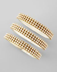 Chamak By Priya Kakkar Set Of 3 Crystal rows Bangles gold - Lyst