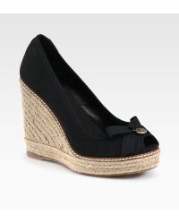 Tory Burch Jackie Canvas Espadrille Wedges - Lyst