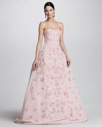 Oscar de la Renta Strapless Floral Applique Ball Gown - Lyst