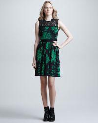 RED Valentino Wool Silk Cashmere Intarsia Knit Dress green - Lyst